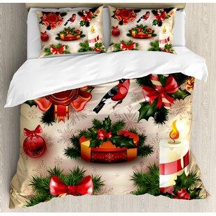 christmas vintage classical religious candle bell mistletoe ribbon bird art print duvet cover set - Christmas Bedding Sets