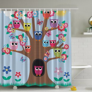 Owl Friends Tree Print Shower Curtain By Ambesonne
