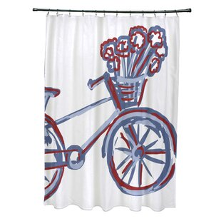 La Bicicleta Print Single Shower Curtain