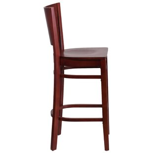 Harriet Solid Back Wood 29 Bar Stool