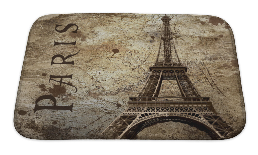 Gear New Skyline Vintage View Of Paris On The Grunge Rectangle Non Slip Bath Rug Reviews Wayfair
