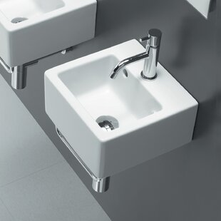 Best Reviews Area Boutique Ceramic 12 Wall Mount Bathroom Sink with Overflow By Bissonnet