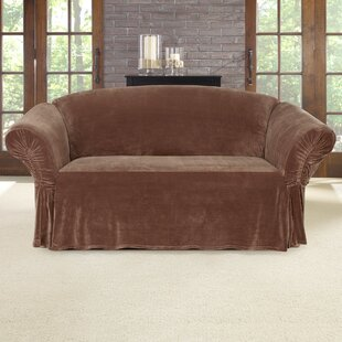 Stretch Plush Box Cushion Loveseat Slipcover