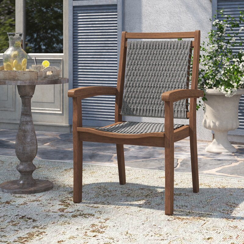 Gino Stacking Patio Dining Chair Armchair Reviews Birch Lane