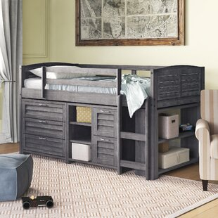 Evan Twin Low Loft Slat Bed with Bookcase, Chest and Shelves and Drawer Chest by