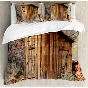 Outhouse Old Wooden Shed in the Outback Country Side with Olive Trees Duvet Cover Set