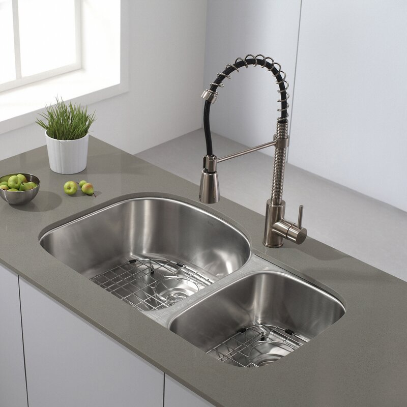 Undermount Kitchen Sink With Drainer Kraus 32 x 20 double basin undermount kitchen sink with 32 x 20 double basin undermount kitchen sink with noisedefend soundproofing workwithnaturefo