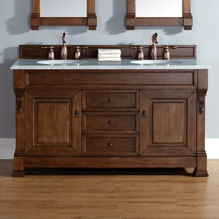 Bedrock 60 Double Country Oak Bathroom Vanity Set with Drawers ByDarby Home Co