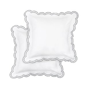 Crosstown Percale Cotton Double Scallop Embroidered Sham (Set of 2)