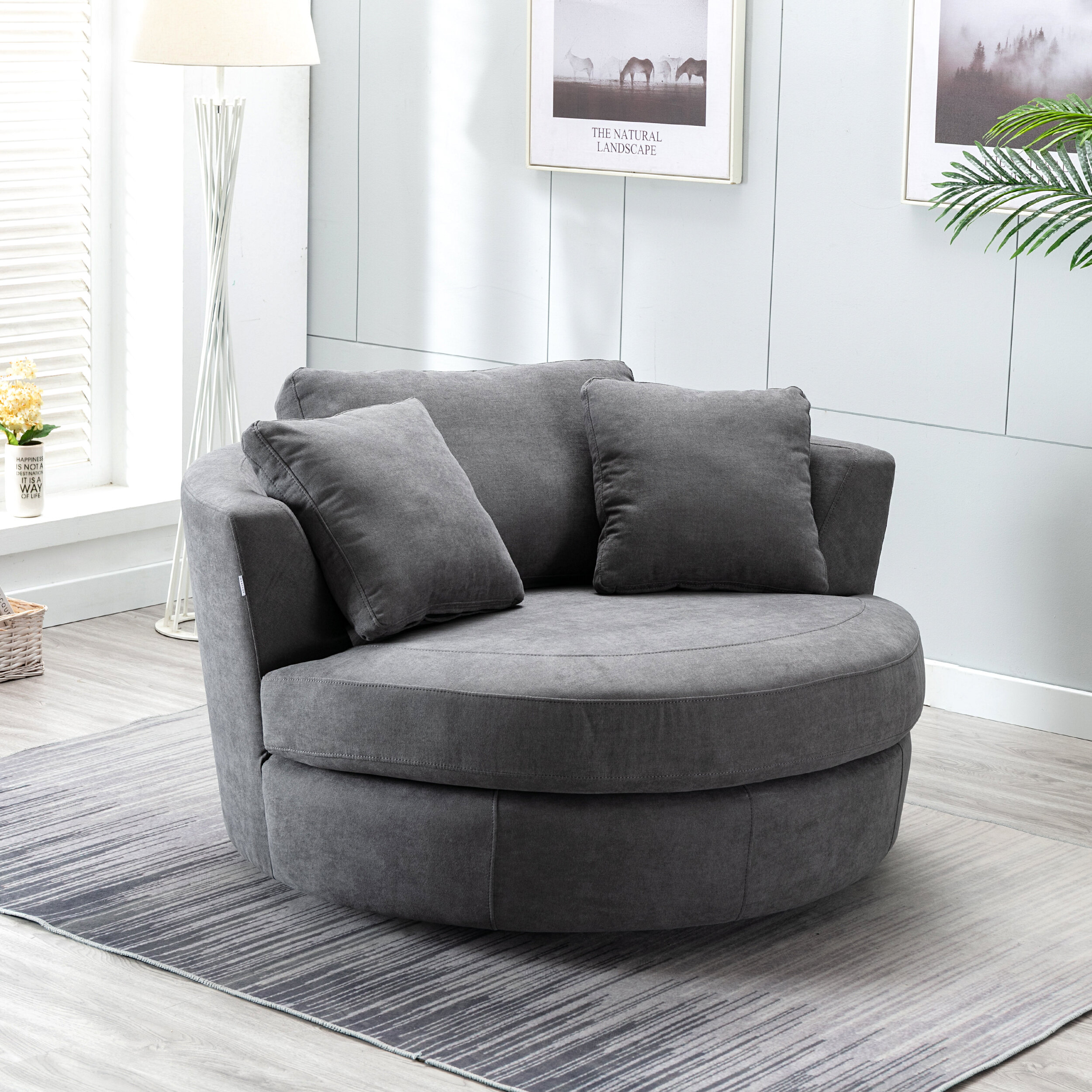 Latitude Run® Minorca Elegant Round Swivel Barrel Chair & Reviews