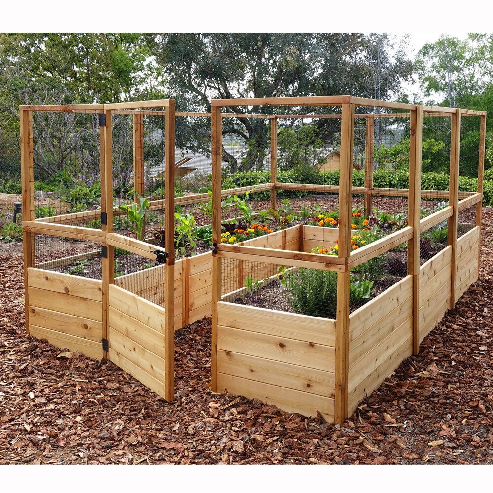 Wayfair Outdoor Living Today 8 Ft X 12 Cedar Raised Garden Bed With Deer Fence Kit