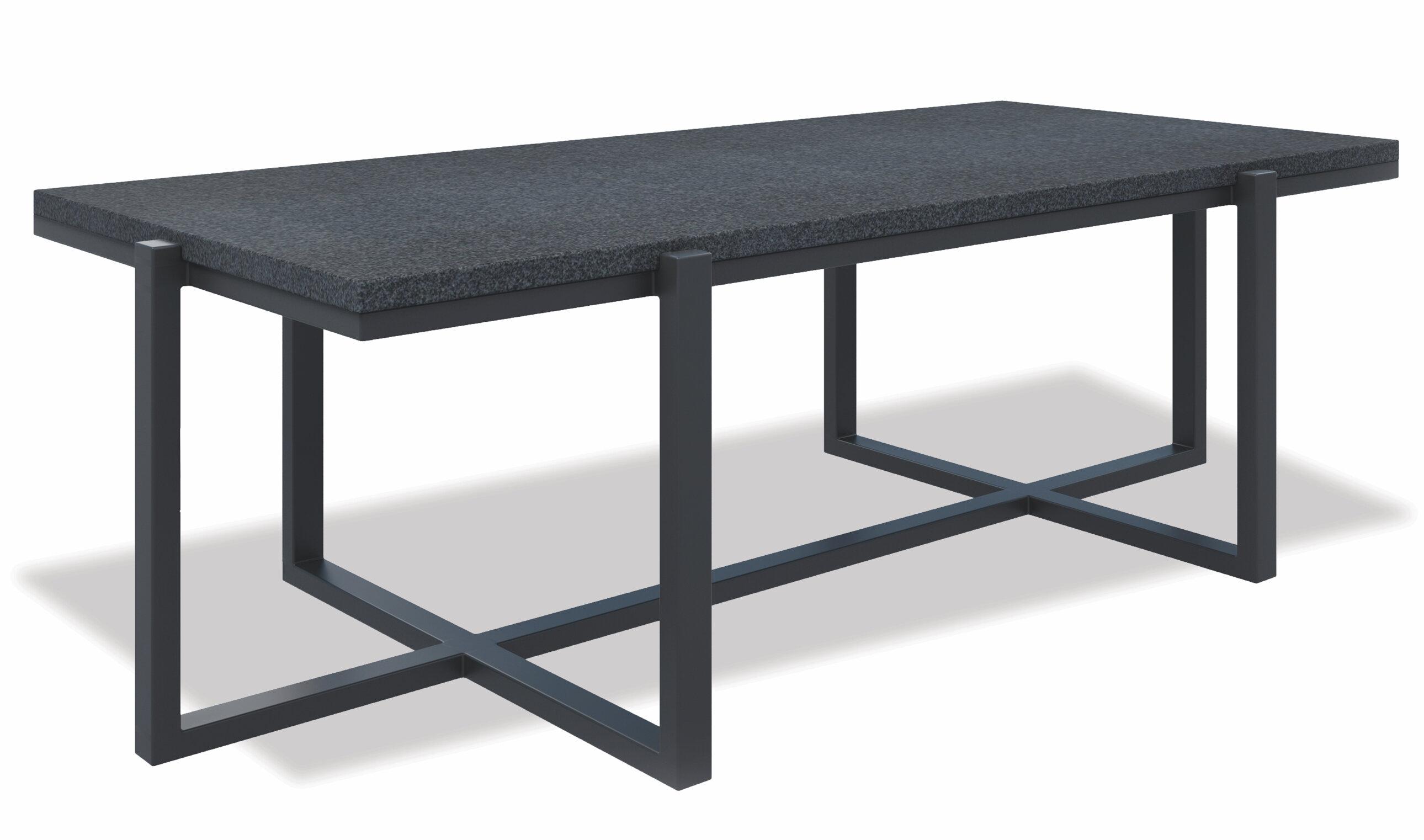 Retangle Coffee Table With Honed Granite Top, Slate Finish