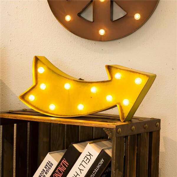 Glitzhome Marquee LED Lighted Arrow Sign Wall Décor | Wayfair