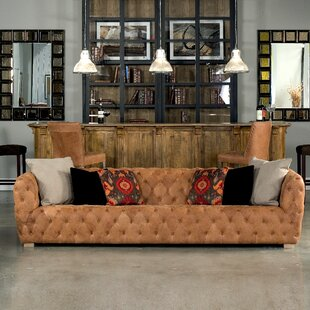 Long Stanley Leather Chesterfield Sofa