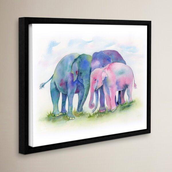 'Elephant Hug' Framed Painting Print - Elephant Boho Chic Decor