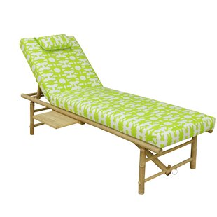 Leandro Bamboo Lounger With Mattress - Green White (Set of 5)