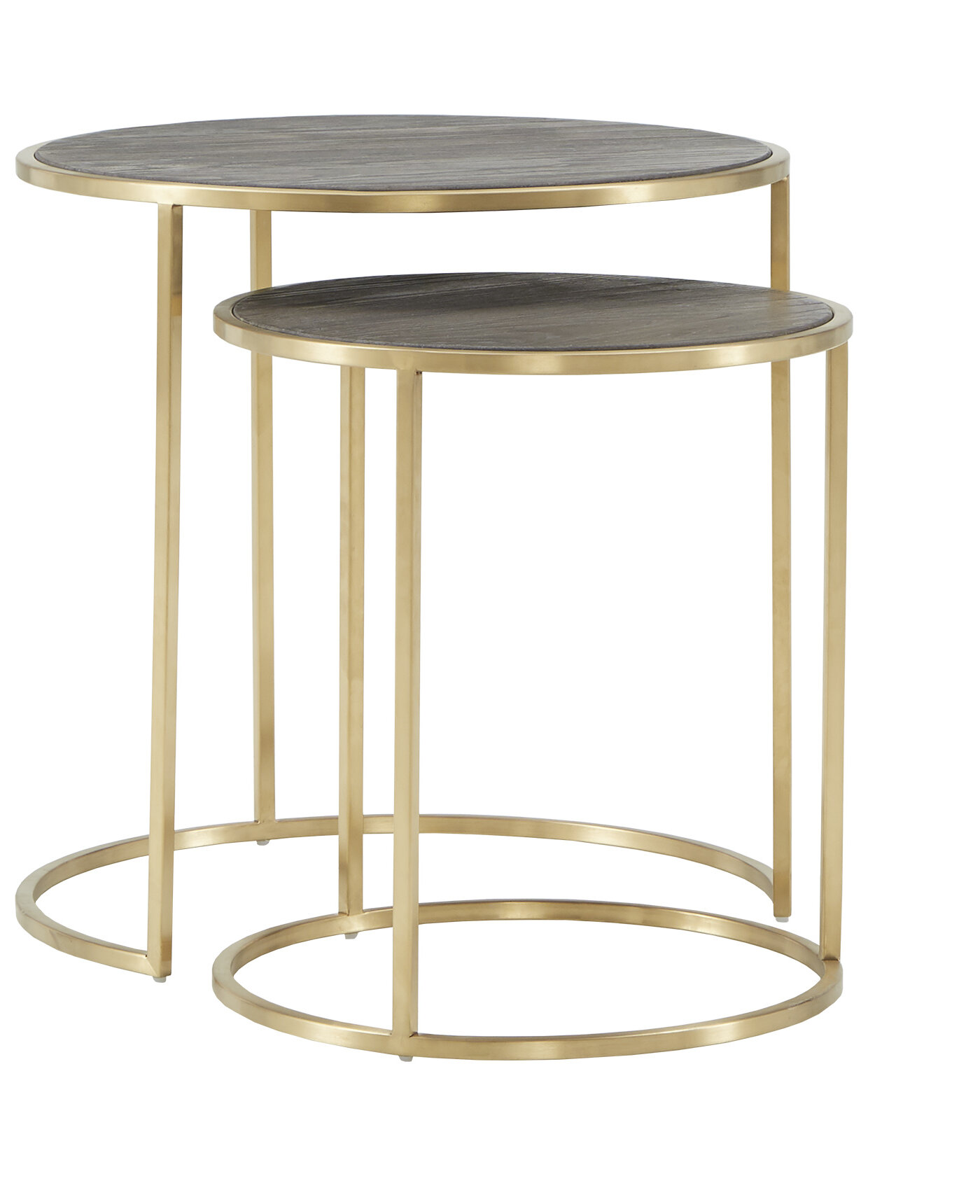 Glam Nesting Side Table 2pc Set Gold Round Glass Metal Steel Goldtone Finish Metallic Includes Hardware
