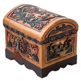 Affordable Price Colorful Birds Wood and Leather Jewelry Box By Bloomsbury Market