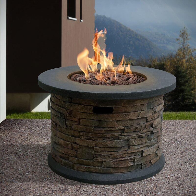 Bond Summit Stone Round Column Gas Polyresin Propane Fire ...
