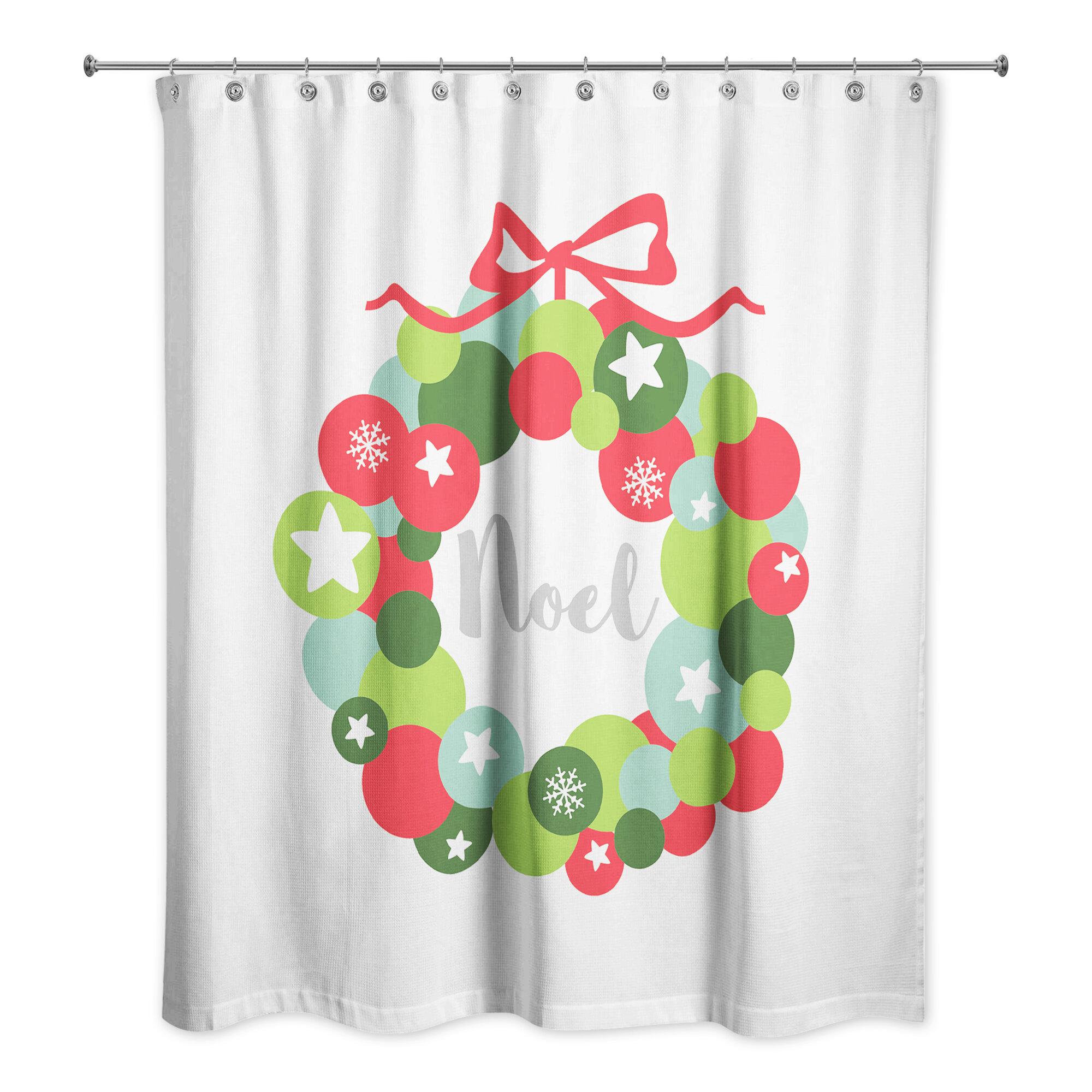 The Holiday Aisle Defreitas Noel Ornament Wreath Single Shower Curtain Wayfair