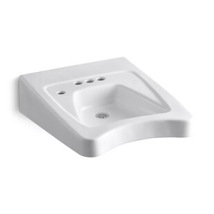 Comparison Morningside Ceramic 20 Wall Mount Bathroom Sink with Overflow By Kohler