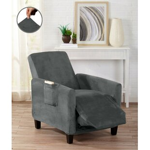 Velvet Plush Form Fit Stretch Box Cushion Recliner Slipcover by Winston Porter