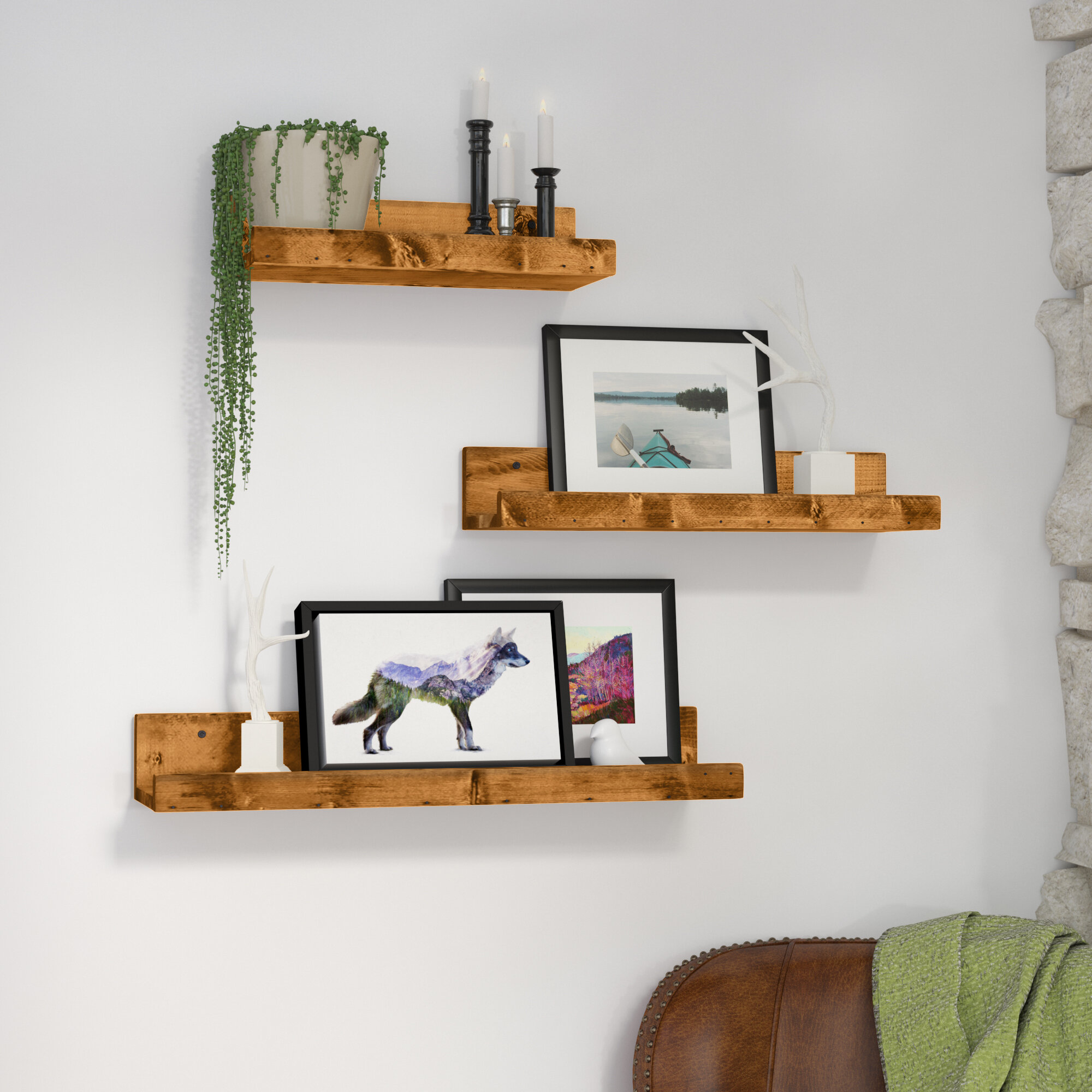 Atterberry Rustic Luxe 3 Piece Floating Shelf Set & Reviews