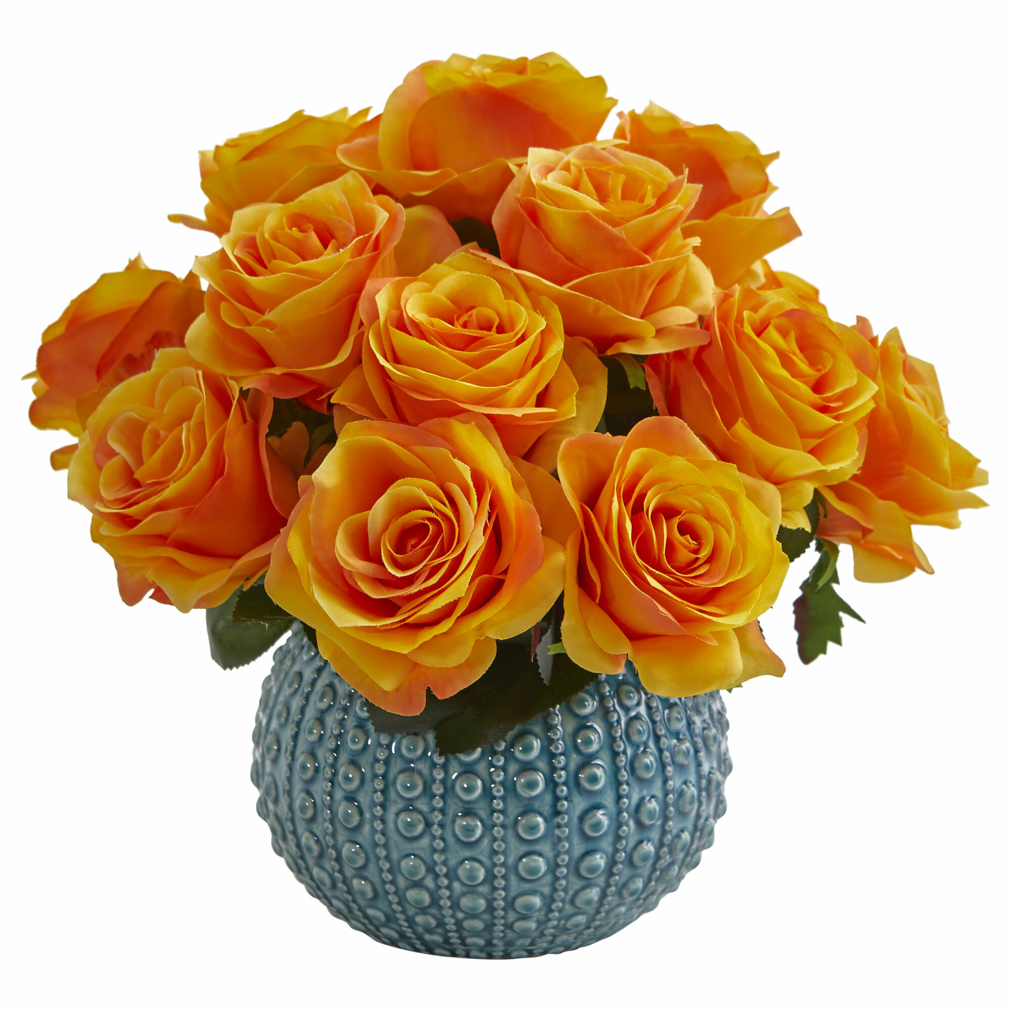 Bungalow Rose Rose Artificial Floral Arrangement In Ceramic Vase