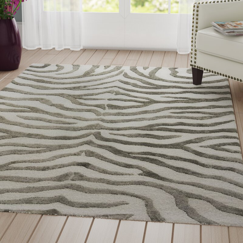 Dodgson Animal Print Handmade Tufted Wool Gray Area Rug