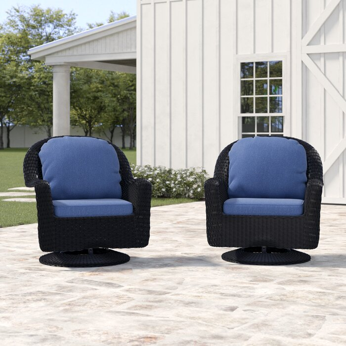 Peachy Dearing Modern Outdoor Wicker Swivel Club Patio Chair With Cushions Pabps2019 Chair Design Images Pabps2019Com