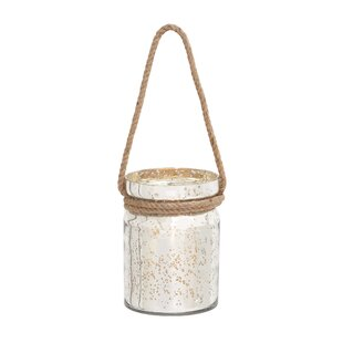 Glass and Rope Lantern By Woodland Imports Outdoor Lighting