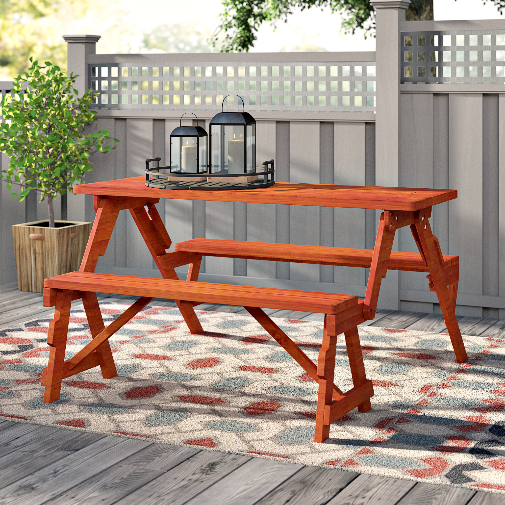 Amazing Andover Mills Dreiling Convertible Wood Picnic Table Ibusinesslaw Wood Chair Design Ideas Ibusinesslaworg