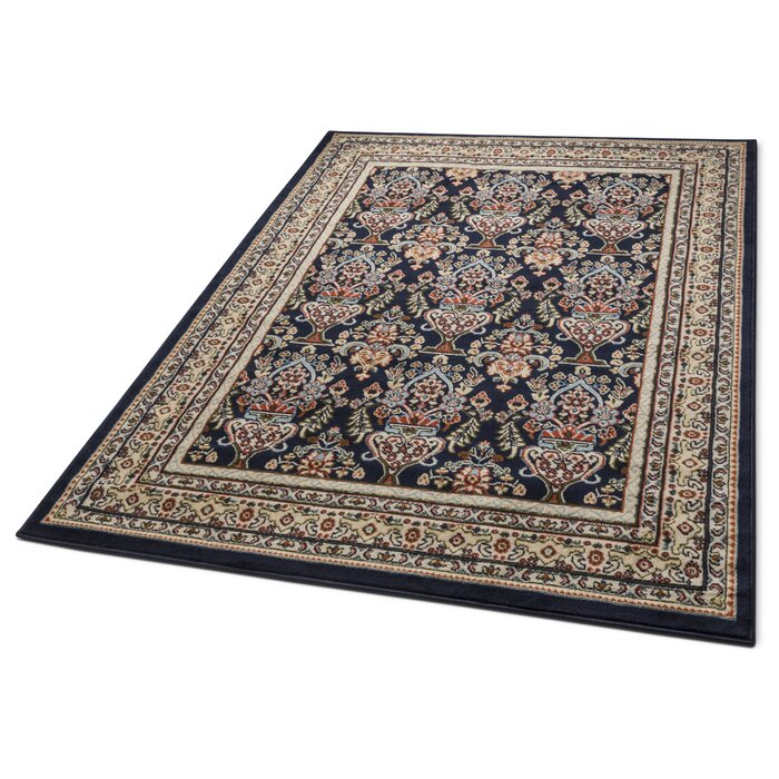 Persa Well Woven Shiraz Traditional Panel Navy Area Rug