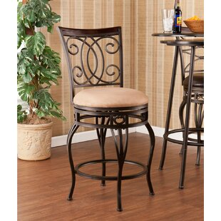 Leann 25.25 Swivel Bar Stool Fleur De Lis Living