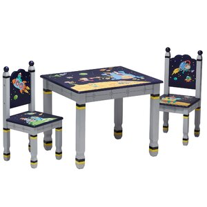 Outer Space Kids 3 Piece Rectangle Table and Chair Set