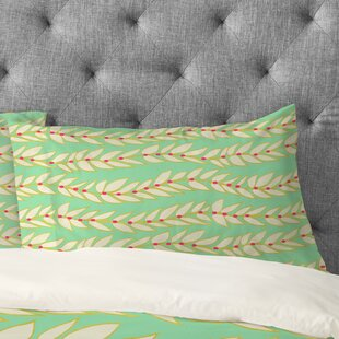 Jacqueline Maldonado Leaf Dot Stripe Mint Pillowcase