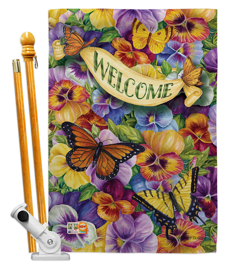 Breeze Decor Pansies With Butterflies 2 Sided Polyester 40 X 28 In Flag Set Wayfair