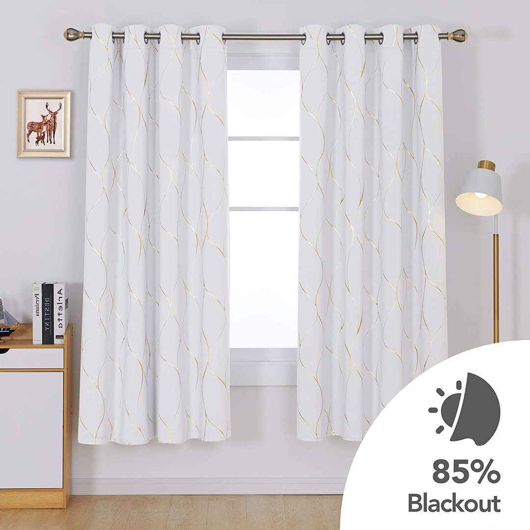 Ivy Bronx Wave Foil Printed Thermal Insulated Curtains