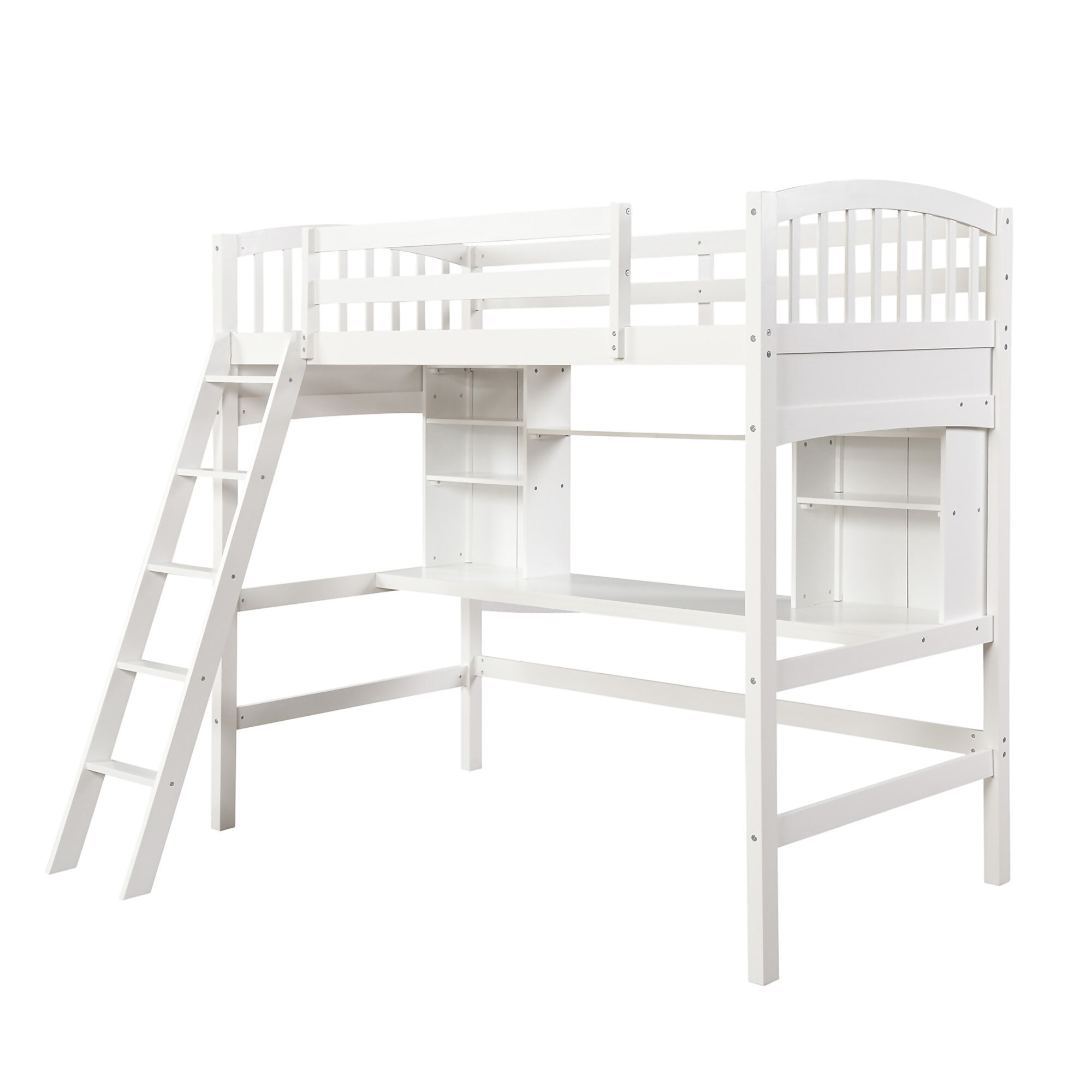 Harriet Bee Twin Loft Beds With Desk And Shelves Wood Bunk Beds With Desk With Build In Ladders Space Saving Design No Box Spring Needed Wayfair