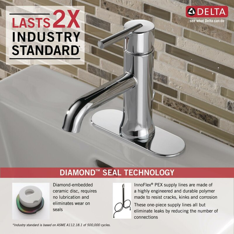 Delta Trinsic® Bathroom Single hole Bathroom Faucet with Drain ...