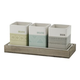 Indoor Herb 3 Piece Ceramic Pot Planter Set