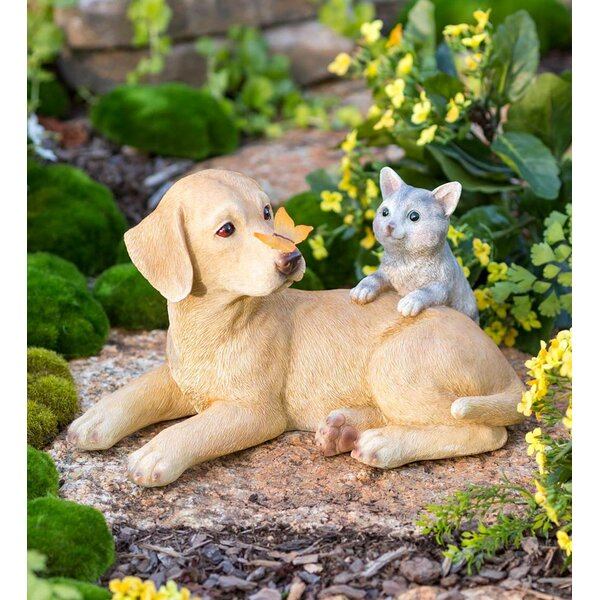 image Dog, Cat and Butterfly Lighted Solar Garden Statue byWind & Weather