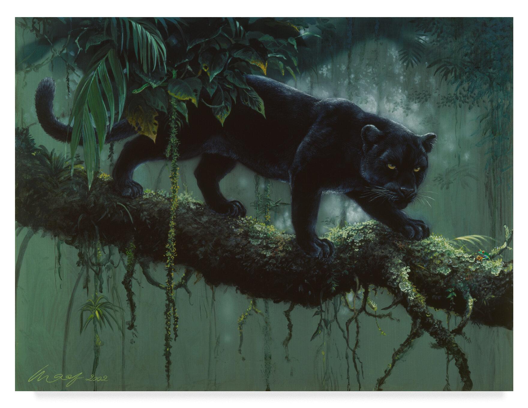 Trademark Art Black Jaguar Stalking Acrylic Painting Print On Wrapped Canvas Wayfair