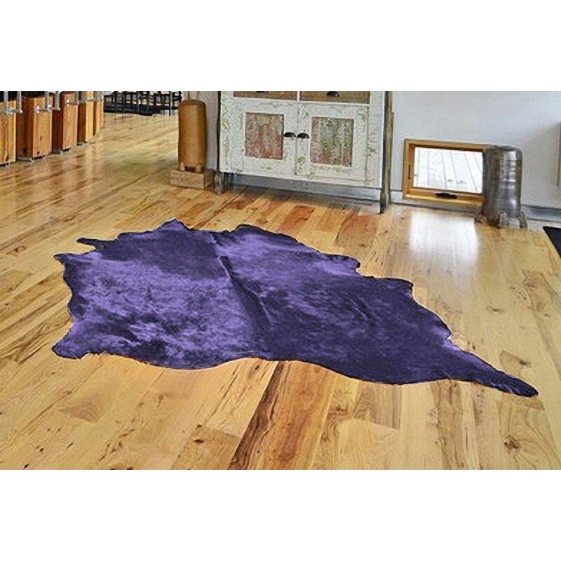 Brayden Studio Montague Cowhide Purple Area Rug Wayfair