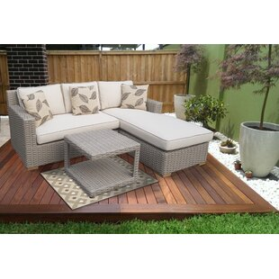 Jenessa Patio 3 Piece Sectional Set with Cushion