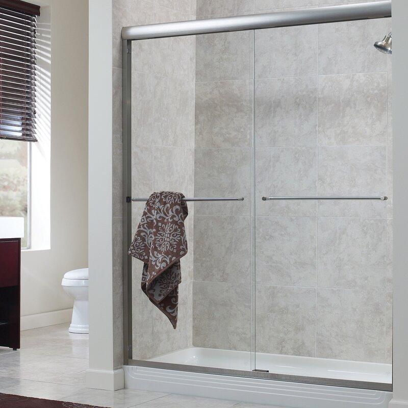 Hazelwood Home Brock 58 X 70 Bypass Frameless Shower Door Wayfair