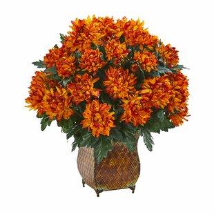 Spider Mum Artificial Floral Arrangement in Metal Planter