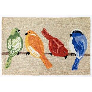 Larzelere Birds Neutral Hand-Hooked Beige Indoor/Outdoor Area Rug