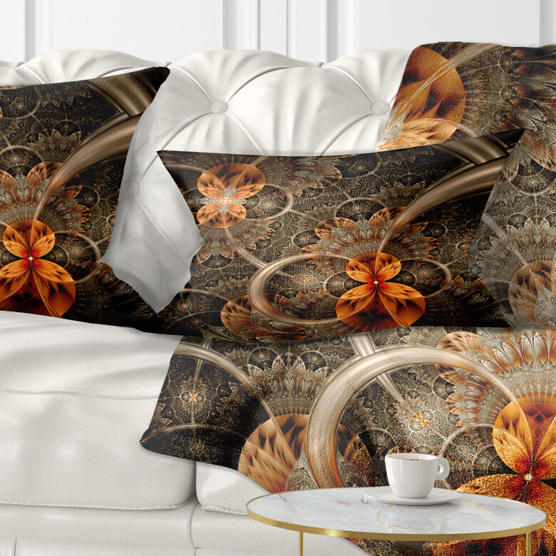 East Urban Home Abstract Symmetrical Flower Lumbar Pillow Wayfair