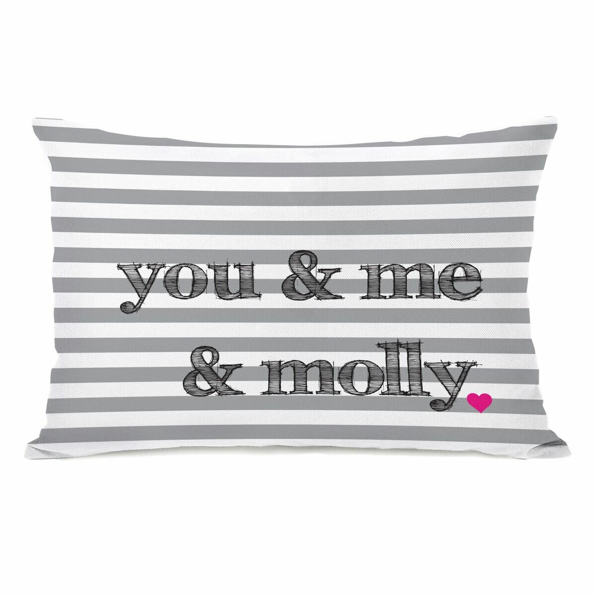 One Bella Casa Personalized You Me The Dog Stripe Rectangular Pillow Cover Insert Wayfair